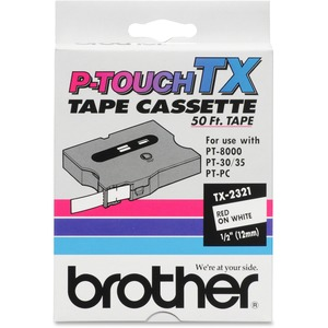 Tx2321 1/2 Red On White P-Touch Tape For Tx Machines / Mfr. No.: Tx2321