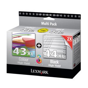 Combo Pack Lexmark Noire et Couleur N°43XL et 44XL - 80D2966