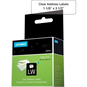 "DYMO® LabelWriter® Standard Address Labels 1-1/8"" x 3-1/2"" Clear 130/box"