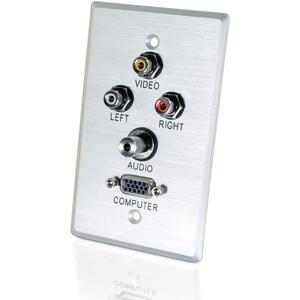 Single Gang Alum A/V 3.5mm Hd-15 Wallplate / Mfr. No.: 40498