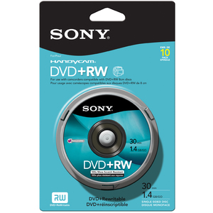 10pk 8cm DVD+Rw 1.4gb 30min Of Video / Mfr. No.: 10dpw30rs2h