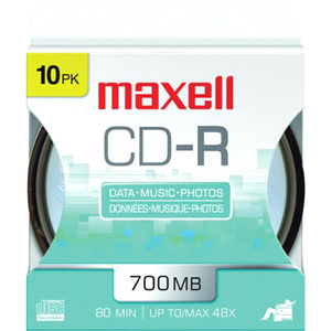 Maxell Cd-R700 48x 10-Pk Hanging Spindle / Mfr. No.: 648450
