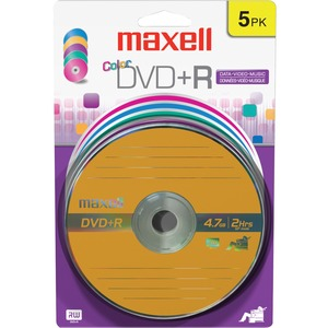 Maxell DVD+R Color 16x Blister Card 5 Pk / Mfr. No.: 639031