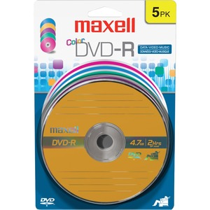 5pk Maxell DVD-R Color 16x Blis Card 5 Pk / Mfr. No.: 638033