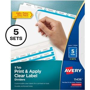 Avery® Index Maker® Clear Label Dividers 5-Tabs 5 sets/pkg