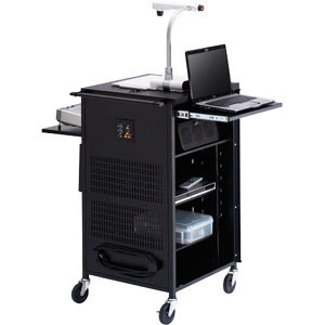 Black Pal Projector Presentation Cart 4in Twin Plastic Casters E / Mfr. no.: TCPUL23FF-BK