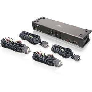 Iogear 4-port DVI KVMp Switch with Audio Cables / Mfr. No.: Gcs1104