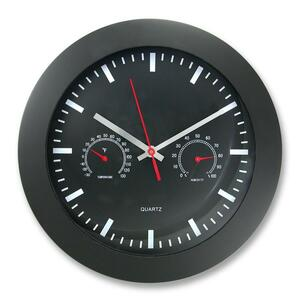 "Timekeeper Wall Clock 12"" with Temperature and Barometric Gauges Black"