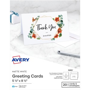 "Avery® Half-Fold Greeting Cards 8-1/2"" x 5-1/2"" White 20 sets/box"