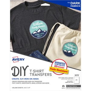 "Avery® Dark T-Shirt Transfer Sheets 8-1/2"" x 11"" 5/pkg"