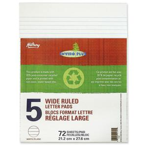 Hilroy Enviro-Plus Writing Pads Wide Rule Letter 72 sheets 5 pads/pkg