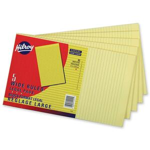 """Hilroy Writing Pads Wide Rule 90 sheets per pad 8-3/8"""" x 14"""" Canary 5pads per pkg"""
