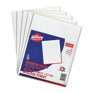 Hilroy Letter Writing Pads Narrow Rule 96 sheets per pad 5/pkg