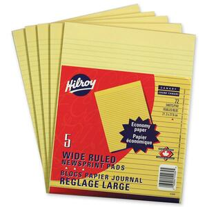 Hilroy Newsprint Writing Pads Wide Ruled 72shts Letter 5 pads/pkg