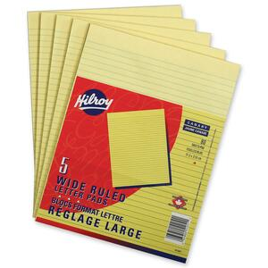 """Hilroy Writing Pads Wide Rule 80 sheets per pad 8-3/8"""" x 10-7/8"""" Canary 5pads per pkg"""