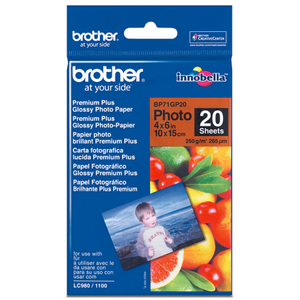 Papier Photo Brillant Brother BP - 100 x 150 mm 20 feuille(s) - pour Brother DCP-J4120, J562, - BP71GP20