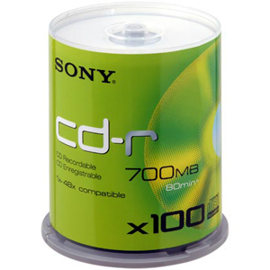 CD-R Sony 700Mo (80 min) 48x Spindle 100 - 100CDQ80SP