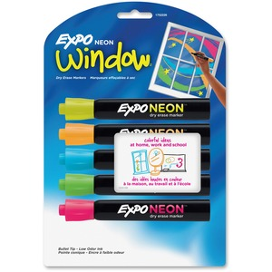 Expo® Neon Window Dry Erase Markers Assorted Colours 5/pkg