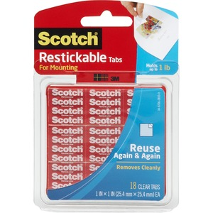 "Scotch® Restickable Mounting Tabs 1"" x 1"" Clear 18/pkg"