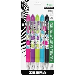 Zebra Z-Grip Retractable Ball Point Pen Assorted Colours 5/pkg
