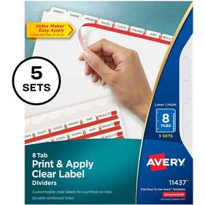 Avery® Index Maker® Clear Label Dividers 8-Tabs 5 sets/pkg