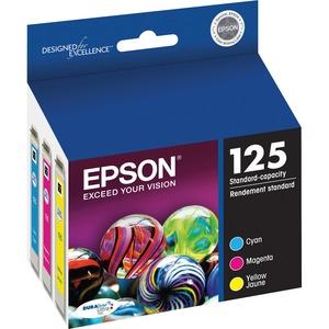 Epson® Inkjet Cartridges T125520-S #125 Cyan, Yellow, Magenta 3/pkg