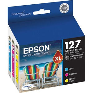 Epson® Inkjet Cartridge Extra High Yield T127520-S #127 Cyan, Yellow, Magenta 3/pkg