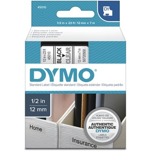 "DYMO® D1 Replacement Tape 1/2"" Black on Clear"
