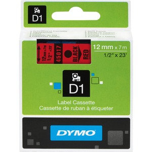 "DYMO® D1 Replacement Tape 1/2"" Black on Red"