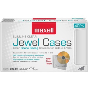 Maxell Jewel Case Slim 40 Pk (5mm) - Clear / Mfr. No.: 190074