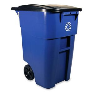 Rubbermaid® BRUTE® Rollout Recycling Container with Lid 189.3 L Blue
