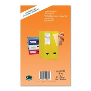 "Greenside Self-Adhesive Label Holders 1"" x 3"" Clear 12/pkg"