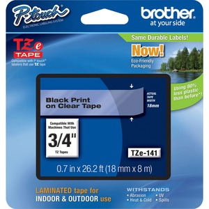 "Brother® P-Touch® TZ Tape 3/4"" Black on Clear"