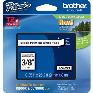 "Brother® P-Touch® TZ Tape 3/8"" Black on White"