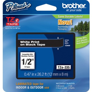 """Brother® P-Touch® TZ Tape 1/2"""" White on Black"""