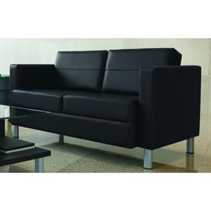 Global® Citi Two-Seater Sofa Leather and Mock Leather Black