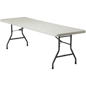 "Offices To Go Lite Lift II Rectangular Folding Table 96"" x 30"" Plastic Oyster Top"