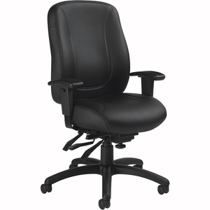 Offices To Go Overtime Medium Back Multi-Tilter Chair Bonded Leather Black