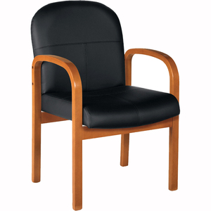 Offices To Go Harvest Guest Chair Mahogany Frame Bonded Leather Black