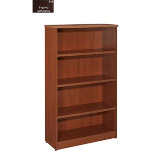 "Star Zeta 4 Shelf Bookcase 32""W x 14""D x 55""H Figured Mahogany Finish"