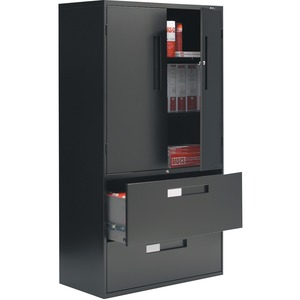 Global® Fileworks® 9300 Multi-Stor Cabinet 3 Shelves 2 Drawer Black