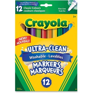 Crayola® Ultra-Clean Washable Fine Tip Markers Classic Colours 12/pkg