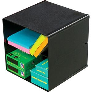 Deflecto® Divided Stackable Storage Cube Black
