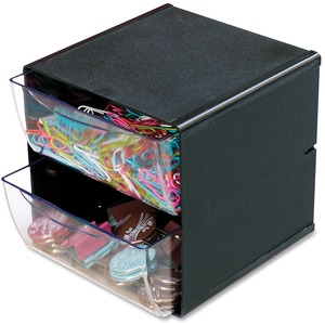 Deflecto® Stackable Storage Cube Two Drawers Black