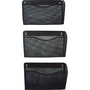 Winnable Mesh Wall File Pockets Black 3/pkg