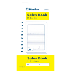 "Blueline® Counter Sales Book Carbonless 2-part 50 sets 3-1/2x6-1/2"" English 10/pkg"