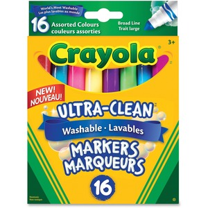Crayola® Ultra-Clean Washable Broad Tip Markers Assorted Colours 16/pkg