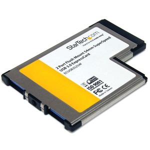 2port Flush Mount USB 3.0 Expresscard 54mm Adapter Card / Mfr. No.: EcUSB3s254f