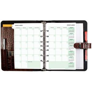 "Day-Timer® Croc-Look Bonded Leather Starter Set 8-1/2"" x 5-1/2"" Walnut"