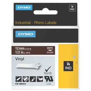 1/2in Brown Vinyl Labels For Rhino 6500 6000 5200 5000 4200 / Mfr. No.: 1805412